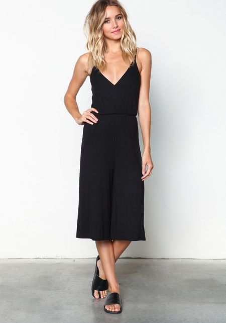Black Wrapped Halter Jersey Cropped Jumpsuit