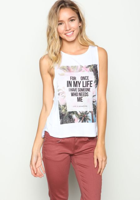 White Life is Beautiful Graphic Tank Top