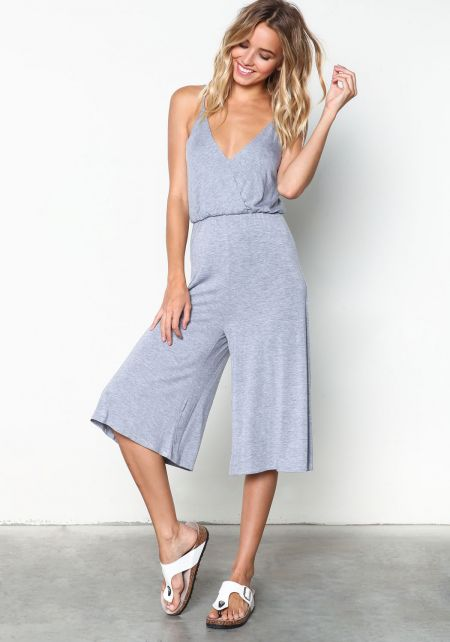 Grey Wrapped Halter Jersey Cropped Jumpsuit