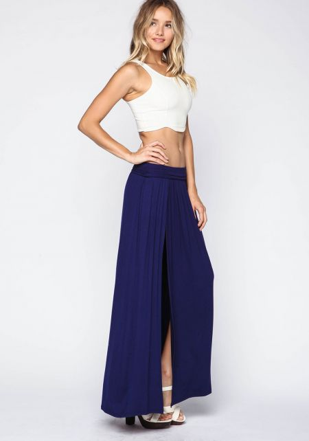 Navy High Slit Jersey Maxi Skirt