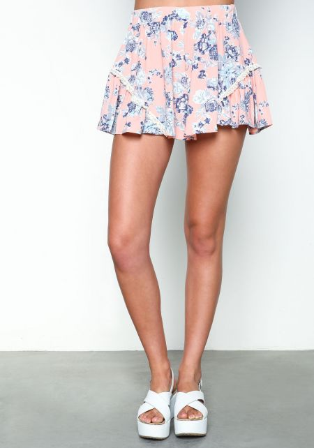 Pink Floral Ruffle Shorts