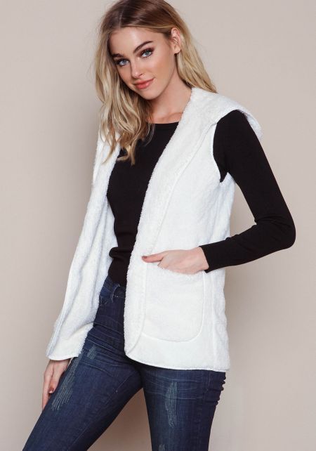 White Furry Shag Hooded Vest