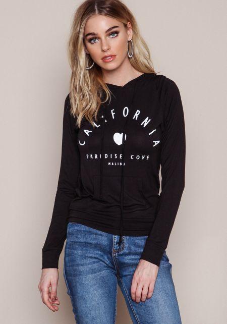 Black Malibu California Hoodie Sweatshirt