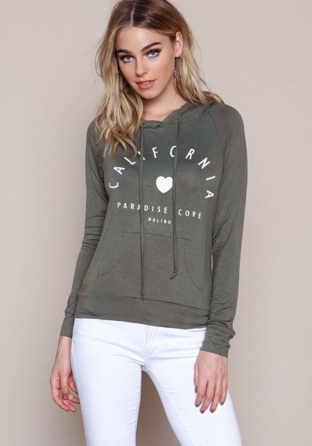 Olive Malibu California Hoodie Sweatshirt