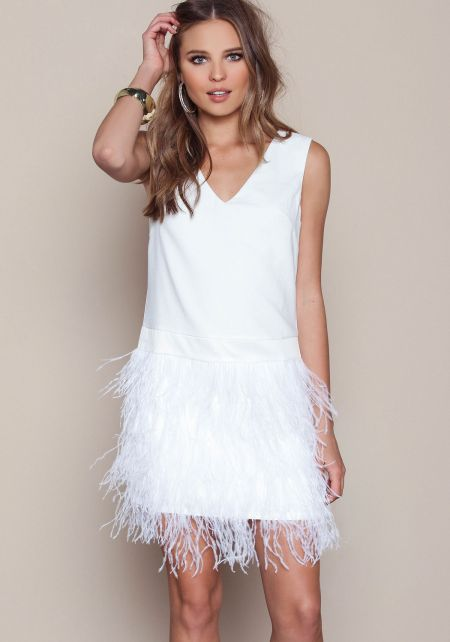 Off White Swan Feather Crepe Dress
