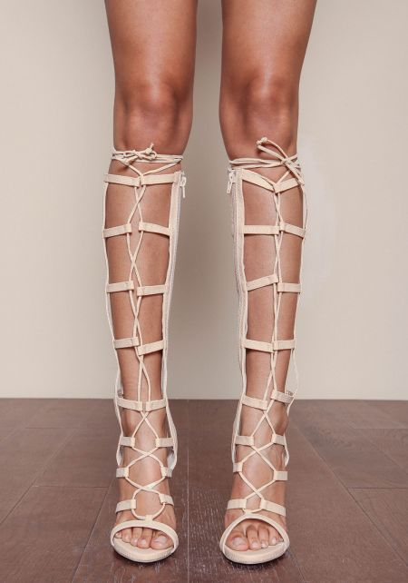 Nude Gladiator Laced Up Heels
