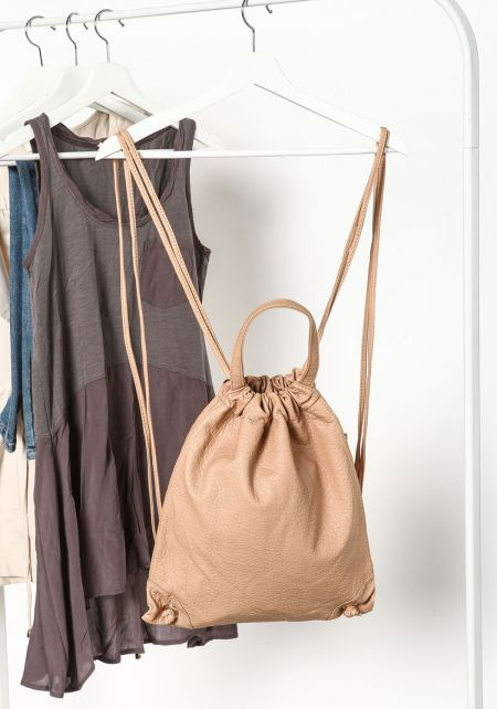 Beige Drawstring Pouch Backpack