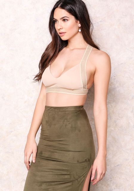 Taupe Sporty Mesh T Strap Bralette
