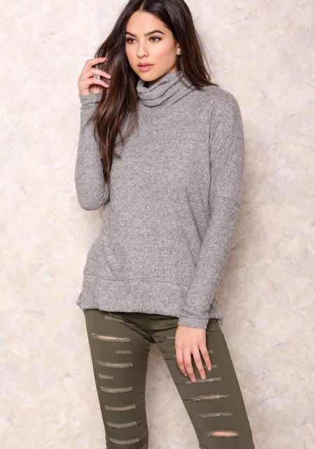 Grey Ribbed Turtleneck Knit Top
