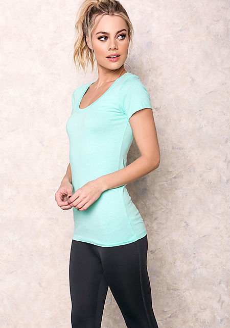 Mint Scooped Neck Basic Tee