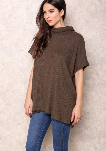 Brown Cowl Neck Ribbed Top