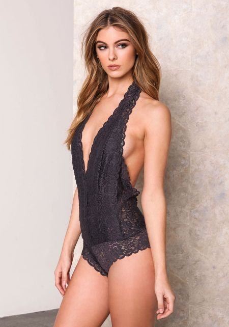 Charcoal Lace Halter Bodysuit