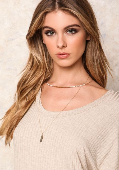 Gold Layered Faux Crystal Collar Necklace Set