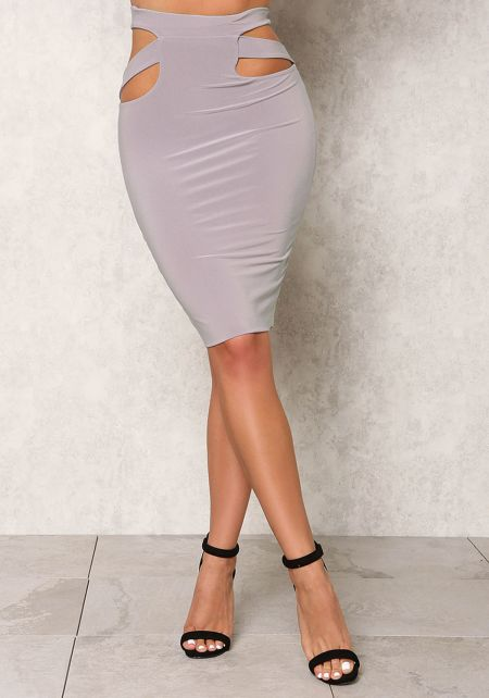 Light Grey High Waist Cut Out Skirt