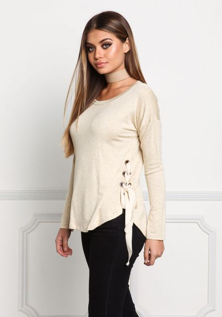 Oatmeal Side Lace Up Marled Top