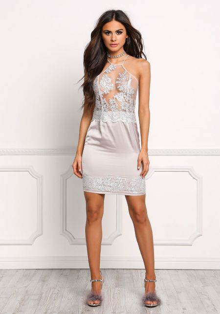 Silver Tulle Satin Embroidered Shift Dress