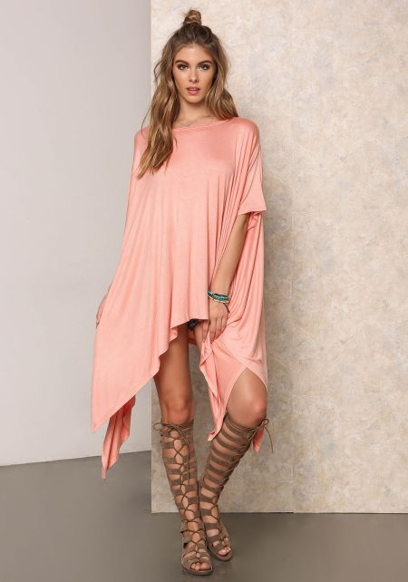 Coral Lustrous Jersey Knit Pointed Top