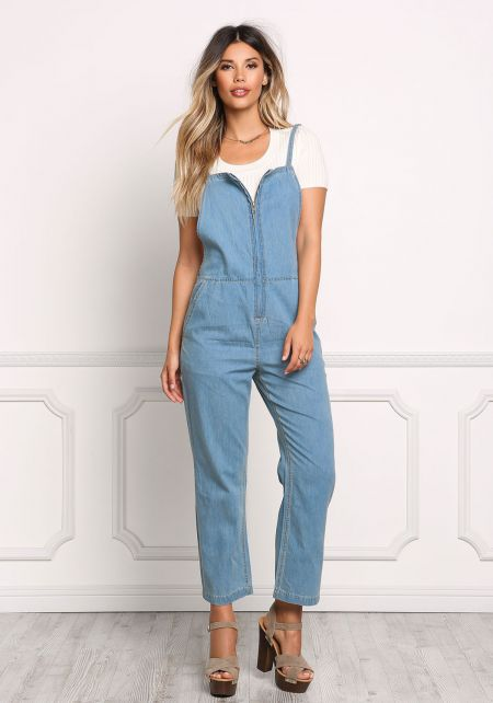 Light Denim Zip Down Overalls