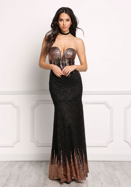 Rose Gold Metallic Floral Lace Sweetheart Maxi Gow