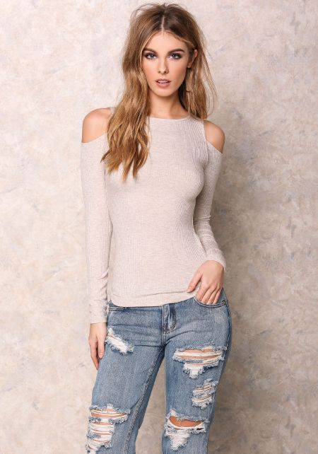 Taupe Cold Shoulder Ribbed Long Sleeve Top