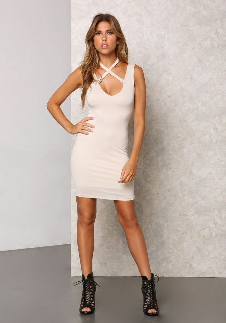 Cream Neck Cross Straps Bodycon Dress