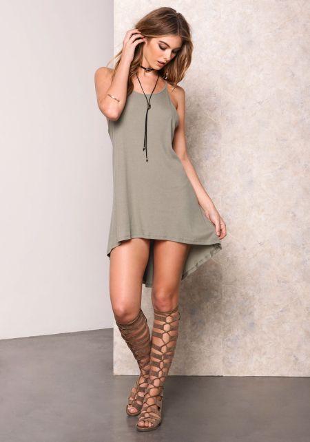Sage Ribbed Basic High Low Dress