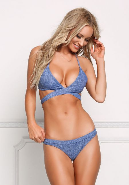 Denim Print Low Rise Triangle Swimsuit Bikini Bott