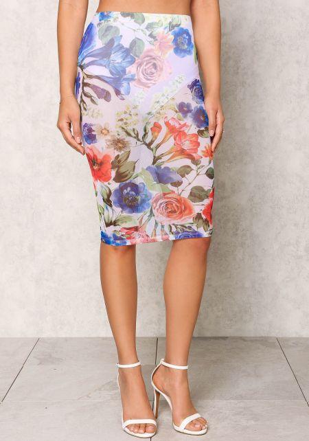 Multi Mesh Rose Print Skirt