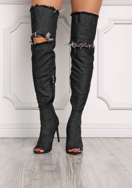 Black Denim Thigh High Distressed Boots