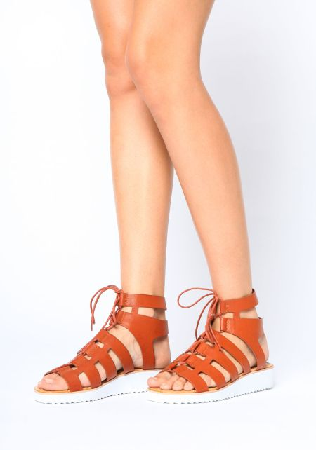 Chestnut Laced Up Sandals