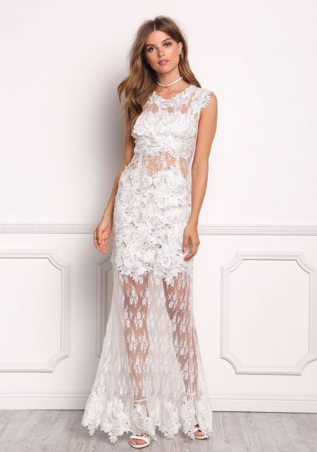Off White Floral Applique Lace Maxi Dress