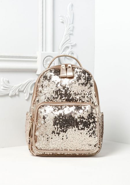 Gold Metallic Leatherette Sequin Backpack