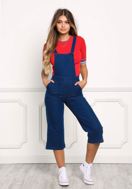 Dark Denim Cropped Overalls