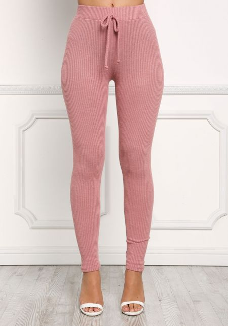 Dusty Pink Ribbed Knit Leggings