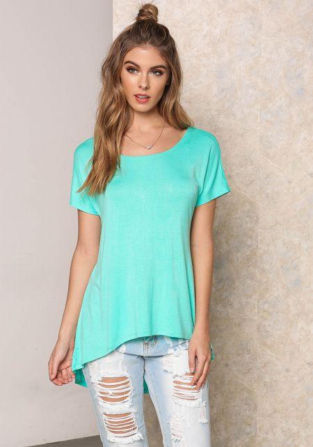 Mint Jersey Knit Hi-Lo Top