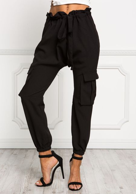 Black Ruched Woven Jogger Pants