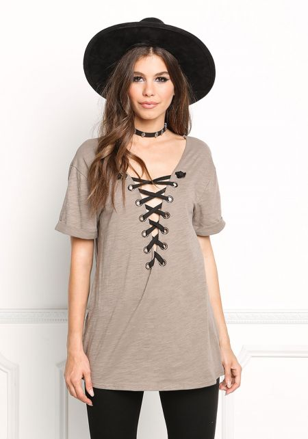 Taupe Lace Up Solid Tee
