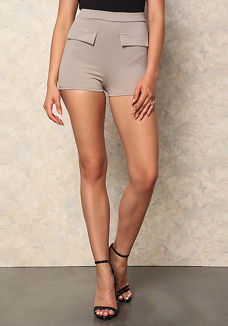 Taupe Pocket Flap High Waist Shorts