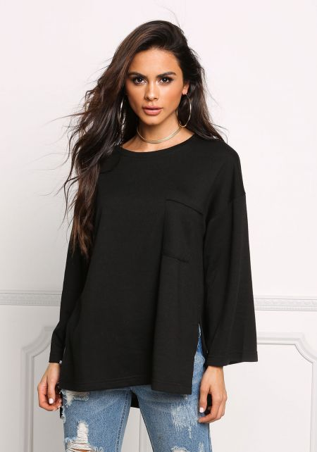 Black Over Sized Slit Knit Pullover Top