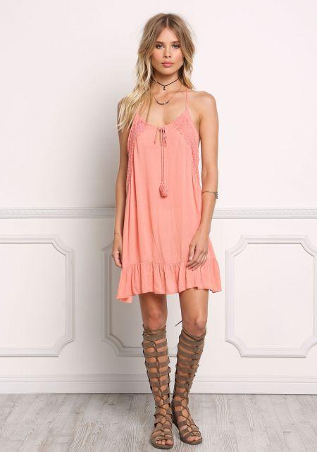 Coral Gauze Lace Trim Shift Dress