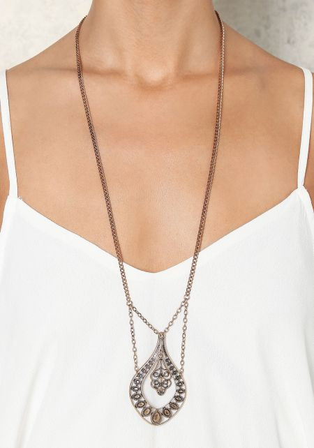 Gold Thin Low Chain Pendant Necklace