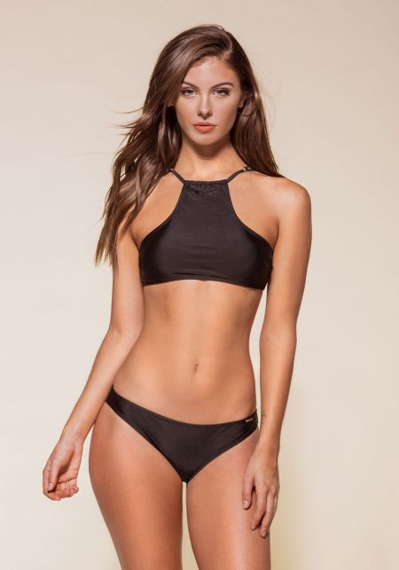 Black Sporty Halter Bikini Set