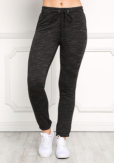 Black Marled Jogger Pants