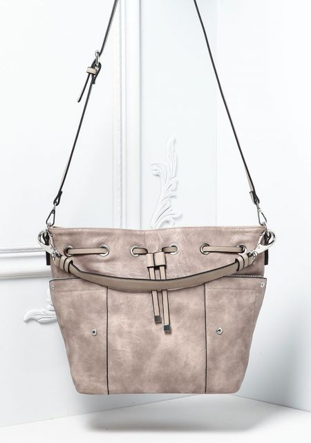Stone Leatherette Drawstring Zipper Trim Tote Bag