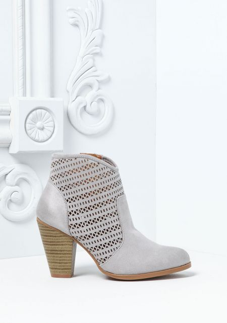 Grey Suedette Laser Cut Boho Booties