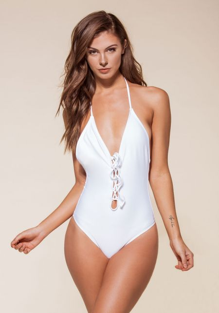 White Plunge Lace Up Open Back Monokini
