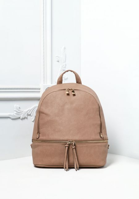 Taupe Leatherette Zipper Trim Backpack