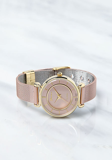 Pink Gold Classic Mesh Link Band Watch