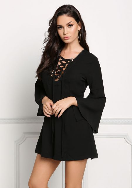 Black Lace Up Bell Sleeve Romper