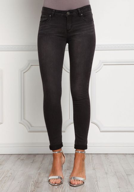 Black Low Rise Cuffed Skinny Jeans